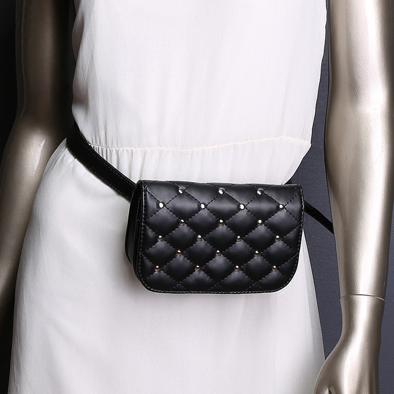 Aliwood New Rivet Diamond Brand Women's Waist Bag Crossbody Bag Lingge Embroidery PU Leather Female Chest Bag Casual Belt Wallet