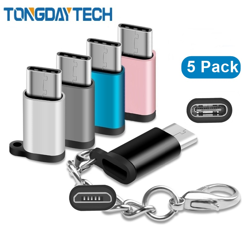 Tongdaytech 5 Pack USB 3.1 Type C OTG Adapter Micro USB Female To USB C Male Converter For Samsung S10 S9 S8 LG G5 G6 V20 Huawei