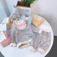 Shirts Long-Sleeve Pants Pajama-Sets Tops Girls Boys Winter Kids Fashion Velvet 2pcs