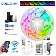 5m 10m 15m WiFi LED רצועת אור RGB Waterproof SMD 5050 2835 DC12V rgb מחרוזת דיודה גמיש סרט WiFi Contoller + מתאם תקע