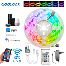 GOOLOOK RGB 방수 LCD 리본 SMD 5050 2835 DC12V 5m 10m 15m 와이파이, 와이파이 컨트롤러, 어댑터 플러그 동봉, 방수 기능, 스트립 RGB 라이트
