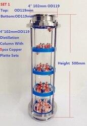 ¡Novedad! Columna de lente de destilación de 4 con 5 uds. Juegos de placas de cobre, Unión de vitrina de cristal de acero inoxidable 304