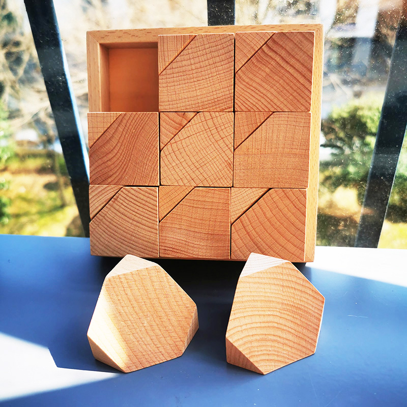 18pcs /set Handmade Painting Beech Wooden Flower Bricks /DIY Painting Wooden Flower Blocks Creative Handicraft