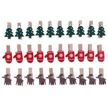 Peg-Pin Clips Photo-Paper Wooden Goves Mini 10pcs/Lot Elk Christmas-Tree