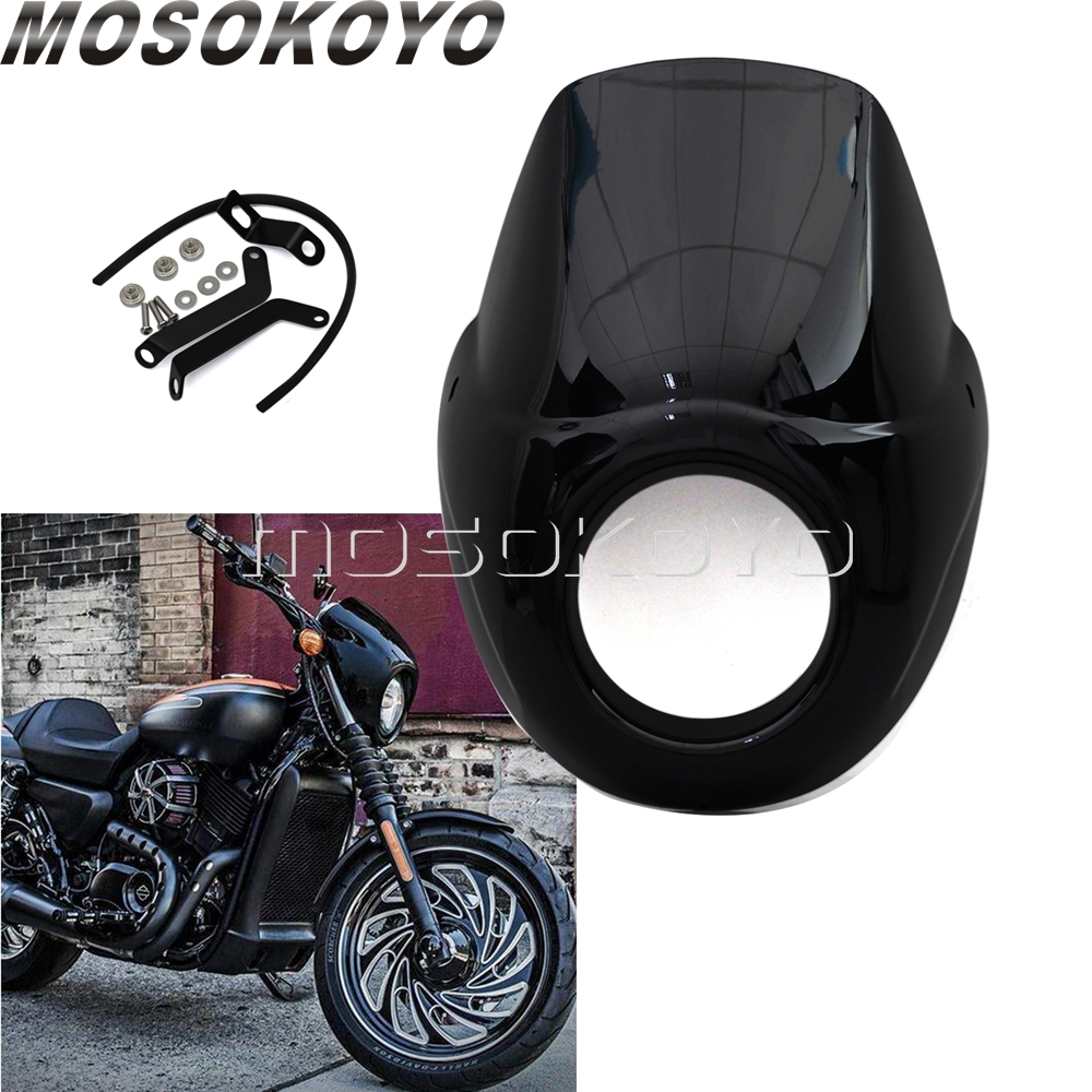 Black Motorcycle Headlight Fairing Windscreen w/ Mount Kit for <font><b>Harley</b></font> Street 750 500 Street Rod XG750A <font><b>XG750</b></font> XG500 2015-2018 image