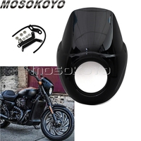 Black Motorcycle Headlight Fairing Windscreen w/ Mount Kit for Harley Street 750 500 Street Rod XG750A XG750 XG500 2015 2018