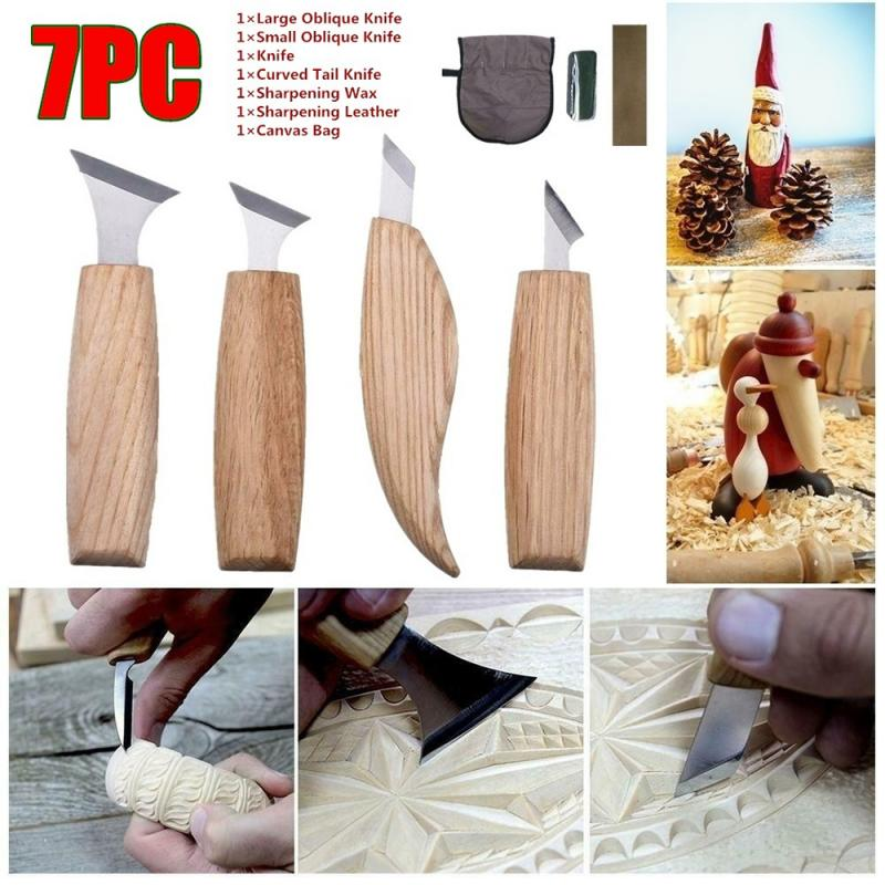 7pcs/lot Wood Carving Chisels Knife For Basic Wood Cut DIY Tools And Detailed Woodworking Gouges Hand Tools