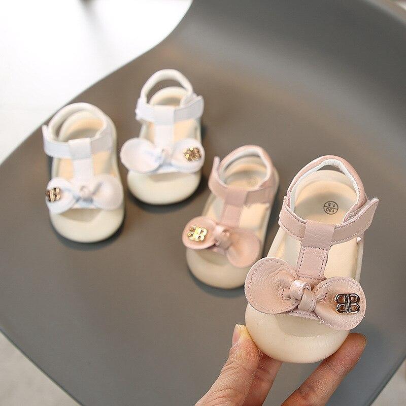 2020 Baby Girls Summer Sandals Soft Bottom Non-slip Bow-knot Kids Children Anti-collision Beach Sandals Infant Toddler Shoes