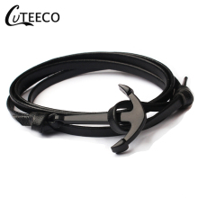 CUTEECO New Fashion Woven Multilayer Anchor Bracelets Men Hope Bracelet Pulsera Navy Hand Leather