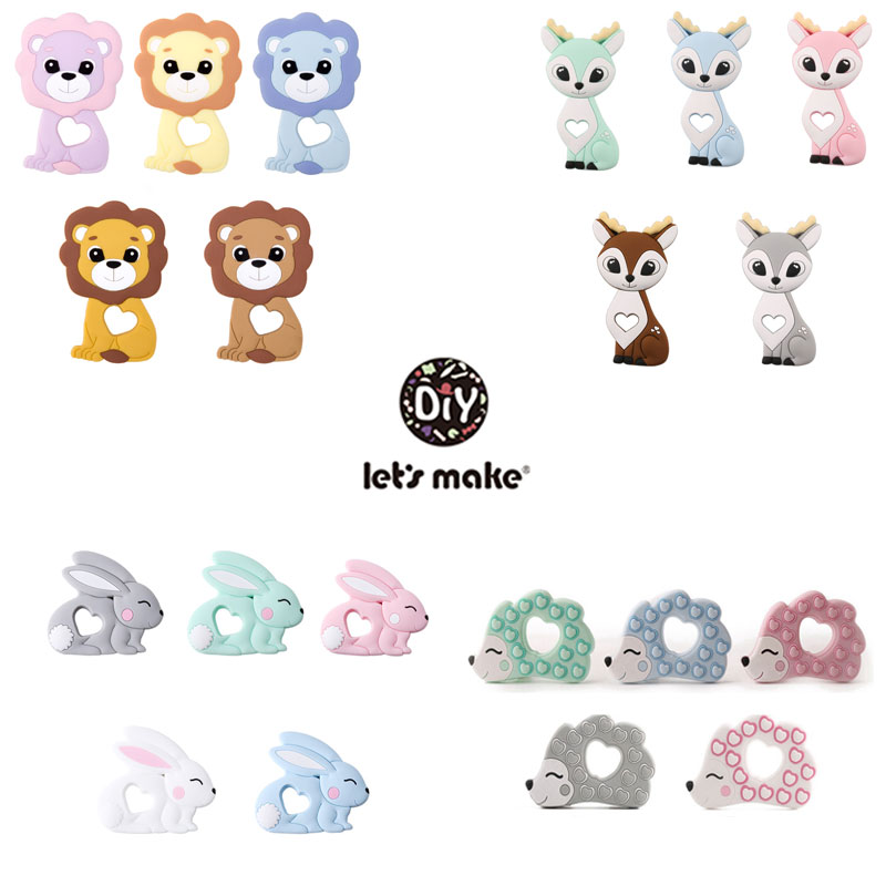 Silicone Food Rodent Beads Baby Teether Pendant For Pacifier Childen's Goods 5pcs BPA Free Koala Unicorn Wholesale Let's Make