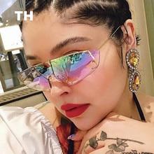 Vintage Sunglasses Women 2019 Cat Eye Rimless Sun Glasses Men Luxury Brand Designer Rivet One Piece Rihanna Eyewear