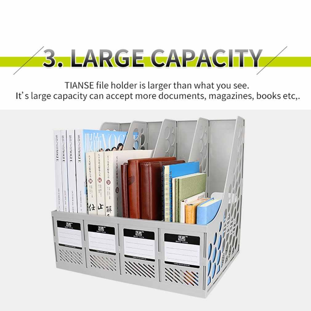 TIANSE TS-1303 Große Kapazität Super Starke 4 Abschnitt Teiler Datei Dokument Rack-Home Büro Desktop Kunststoff Bücherregal