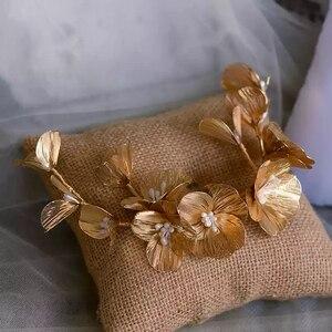 Image 2 - מדהים זהב ריינסטון חתונה סיכות רך כלה Hairbands חתונה אקססורי לשיער לנשף כיסוי ראש