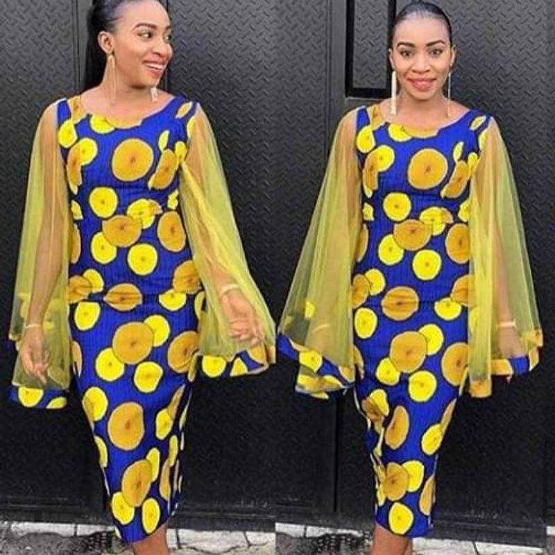 New Style Classic African Dresses For Women Dashiki Mesh Long Sleeve Polka Dot Elegant Ladies Midi Dresses Africa Clothing