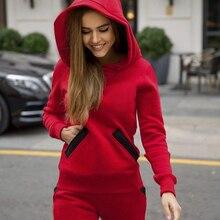 Модный осенне-зимний спортивный костюм для женщин с капюшоном и карманами, комплект со штанами, комплект из двух предметов, спортивный костюм