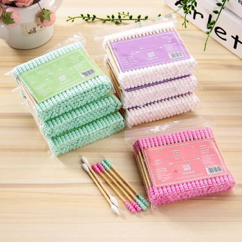 100pcs/ Pack Double Head Cotton Swab Women Makeup Cotton Buds Tip For Medical Wood Sticks Nose Ears Cleaning Health Care Tools