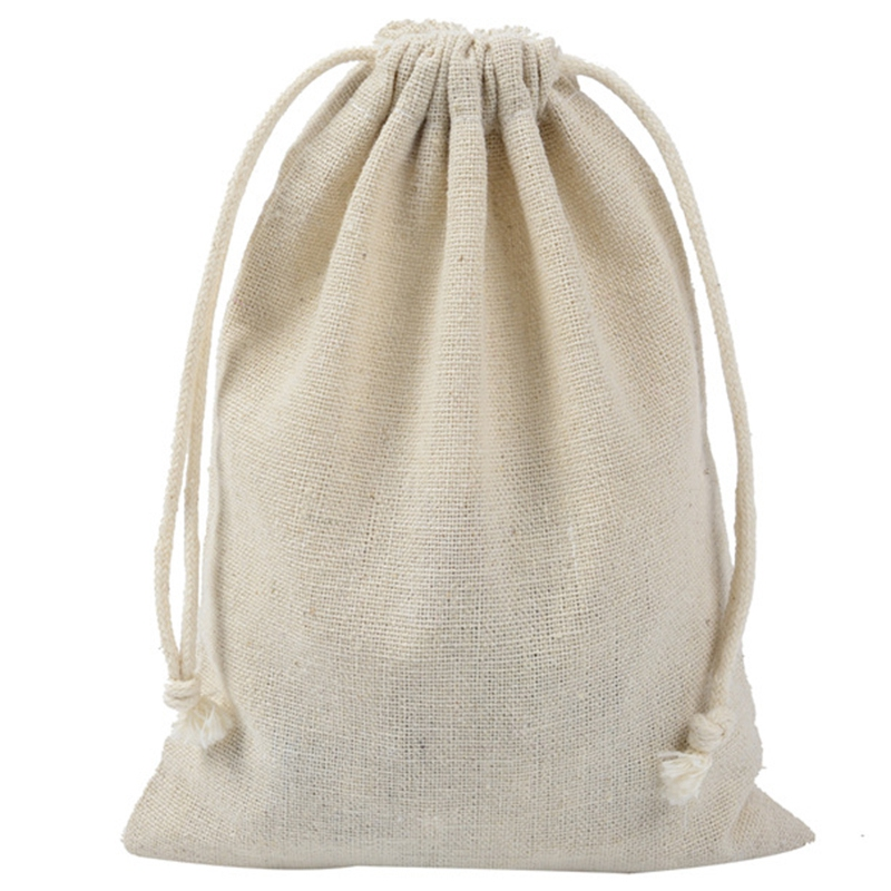 50Pcs Handmade Muslin Cotton and Linen Drawstring Packaging Gift Bags for Coffee Bean Candy Jewelry Pouch Storage Wedding Christ