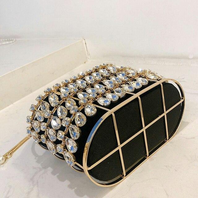 Black & Apricot Silver Diamond Metal Basket Ladies Shoulder Chain Tote  6