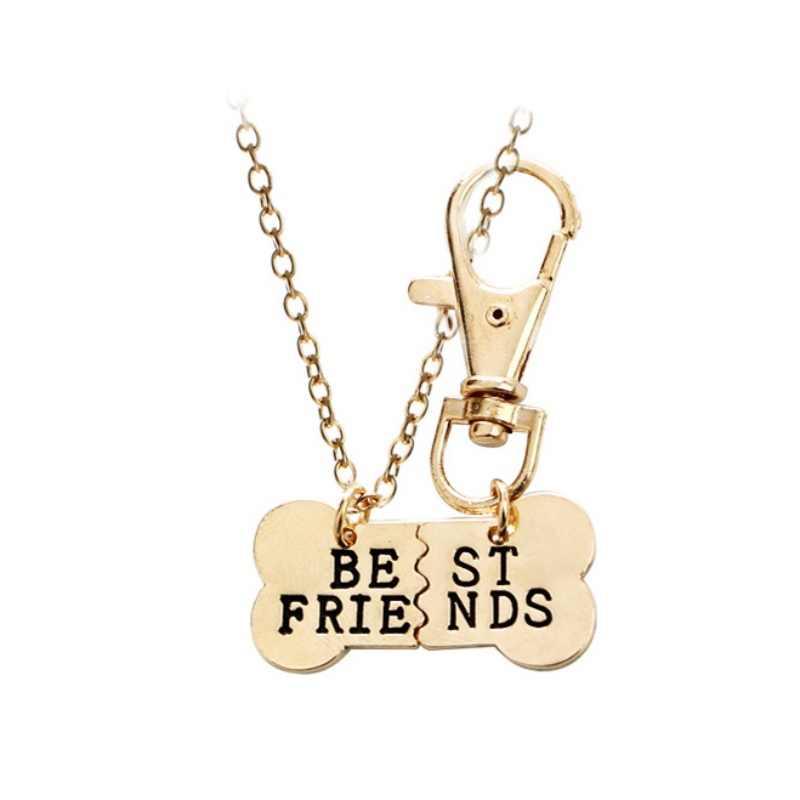 2 יח'\סט לחיות מחמד שרשרת מפתח שרשרת הטוב ביותר חברים קסם כלב תג צווארון תליון התאמה מתנה חדש