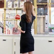 Women Dress 2020 Fashion Elegant Office Ladies Turtleneck Solid Streetwear Long Sweater Skinny Knit Slim Kintted Female Dress