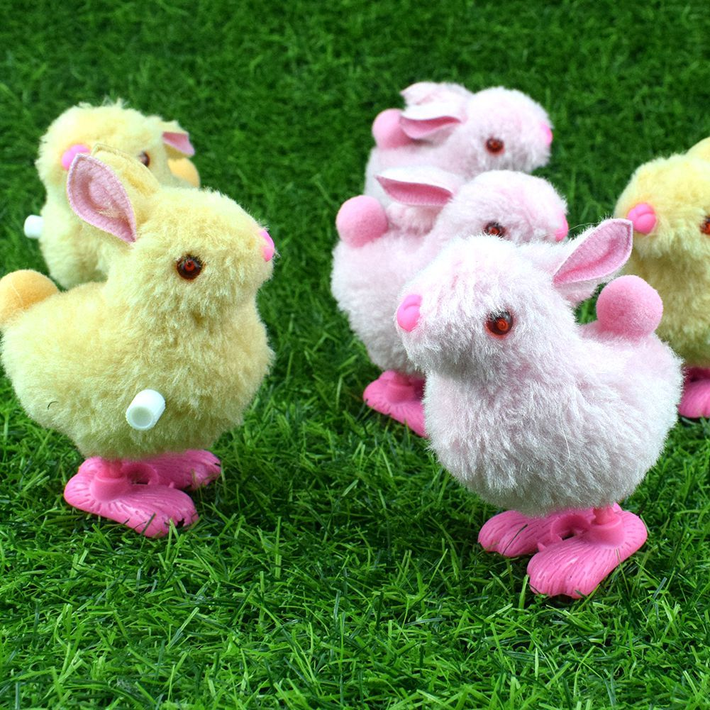Small Winding Spring Jumping Bunny Wind-up Toy Plush Model Bunny Stall Good Supply Of Goods