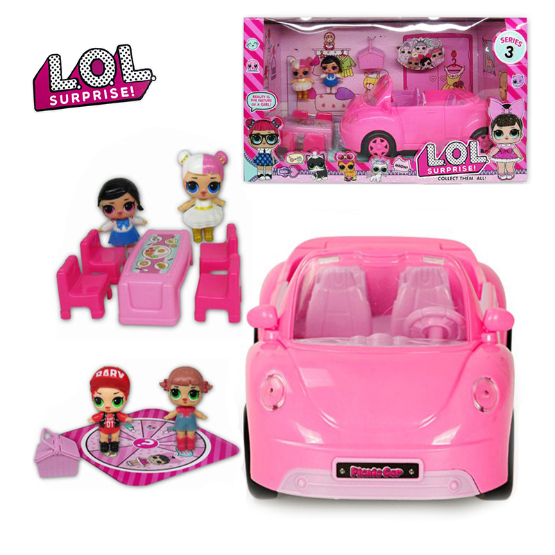 Original LOL Surprise Dolls Playing House Toy Picnic Car Convertible With Furniture Set Toys Pink Sports Car Toys For Girls Gift