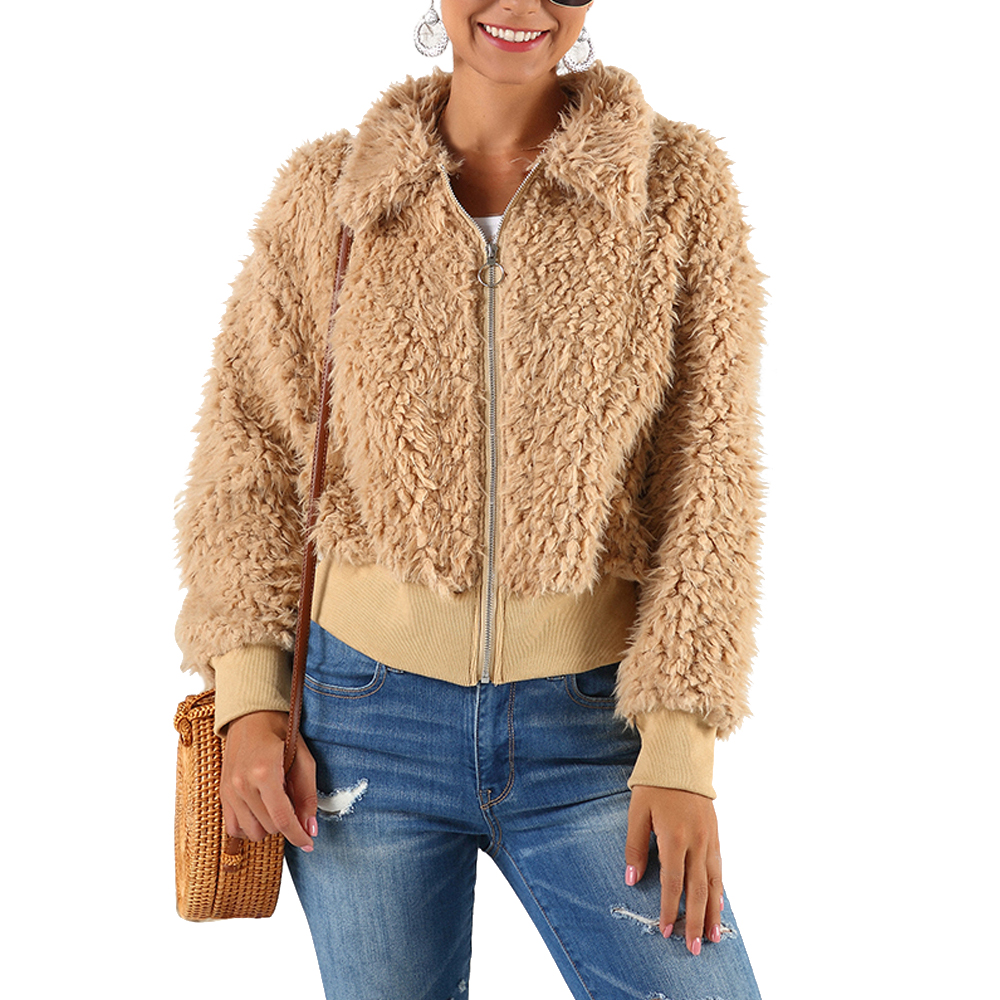 HEFLASHOR Women's Plush coat autumn winter Women Button Jacket Casual Warm turndown collar fur Outwear Mid-Length Woolen jackets 21