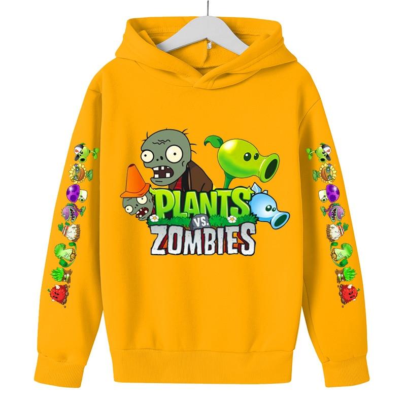 2021 Children'S Spring Autumn Cartoon Anime Plants Vs. Zombies Kids Hoodie Sports Long Sleeve Tops Boys Girls Casual Clothing
