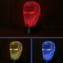 Luminosa Homem De Ferro Vingadores Estatueta 3D Ilusão LED NightLight Luz Colorida Endgame Máscara IronMan Spiderman Figura Modelo Brinquedos(China)