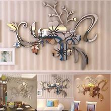 new DIYfashion 3D Mirror Effect Flower Removable Wall Sticker TV Background Living Room Decal Design Multi-Use Home Decor