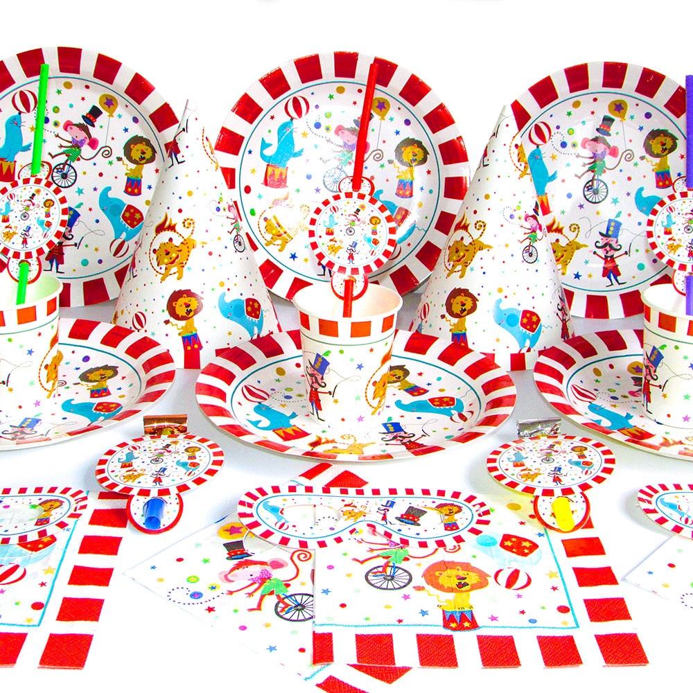 Цирковые бриллиантовые полосатые животные, набор одноразовой посуды, тарелка, чашки, маски, детские товары для дня рождения, радость
