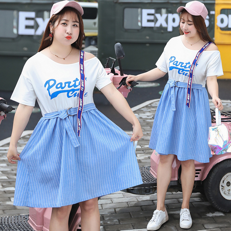 Sold Out Do Not Fill! New Products Large Size Dress Korean-style Hipster Mock Two-Piece Dress Supply Of Goods A Generation Of Fa