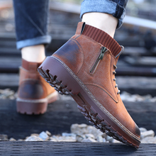 Vintage Zip Hight Top Men Casual Shoes Autumn Leather Breathable Boots High Quality Oxfords Outdoor Hiking