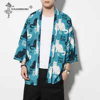 Kimono Cardigan Men Kimono Femme Yukata Harajuku Japan Kimono Summer Cat Print Blue Color Coat Asia Kimono Cosplay Costume Shirt