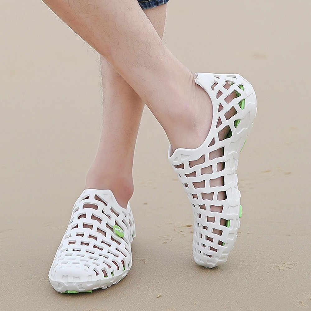 women sandals flat casual white Wading shoes Men Women Unisex Classic Casual Shoes Couple Beach Sandal Flip Flops Shoes#3