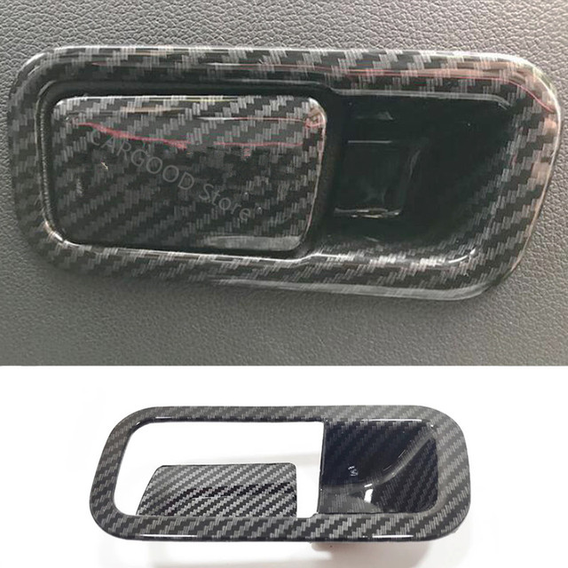 Für Hyundai Kona Encino 2018 2019 ABS Carbon Fibre Zubehör Auto Copilot handschuh Box griff bowl Abdeckung Trim Styling 2 stücke