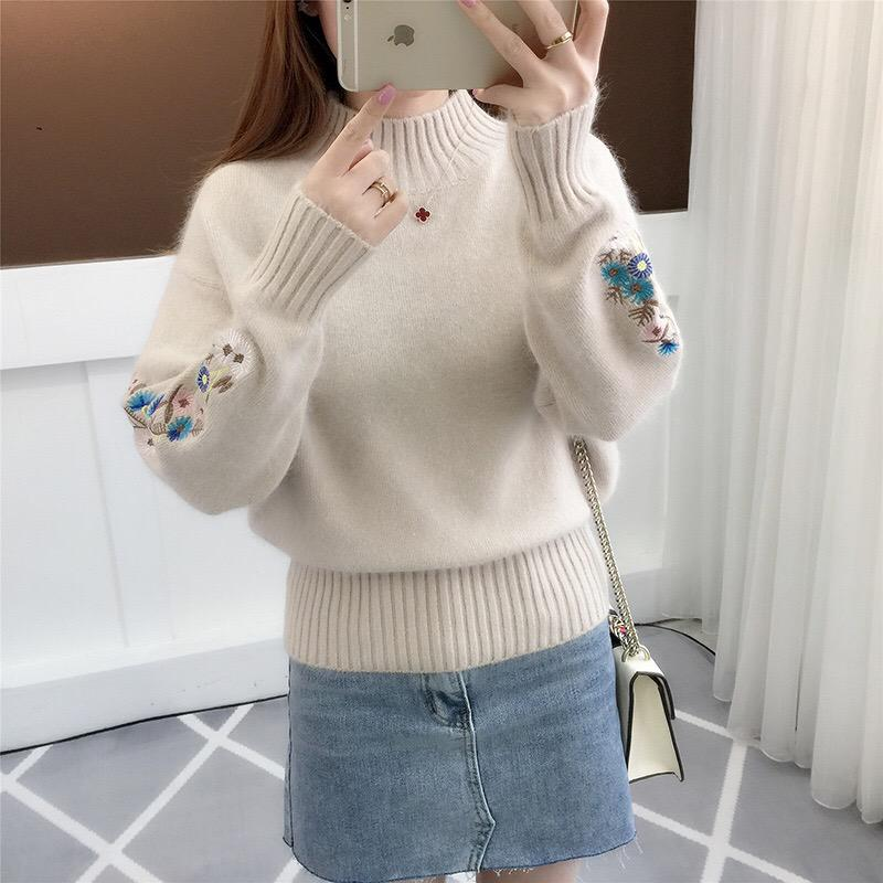 Turtleneck Sweater Women Top Long Sleeve Warm Sweaters Embroidered Knitted Pullover Autumn Winter Round Neck Knitting Pollovers