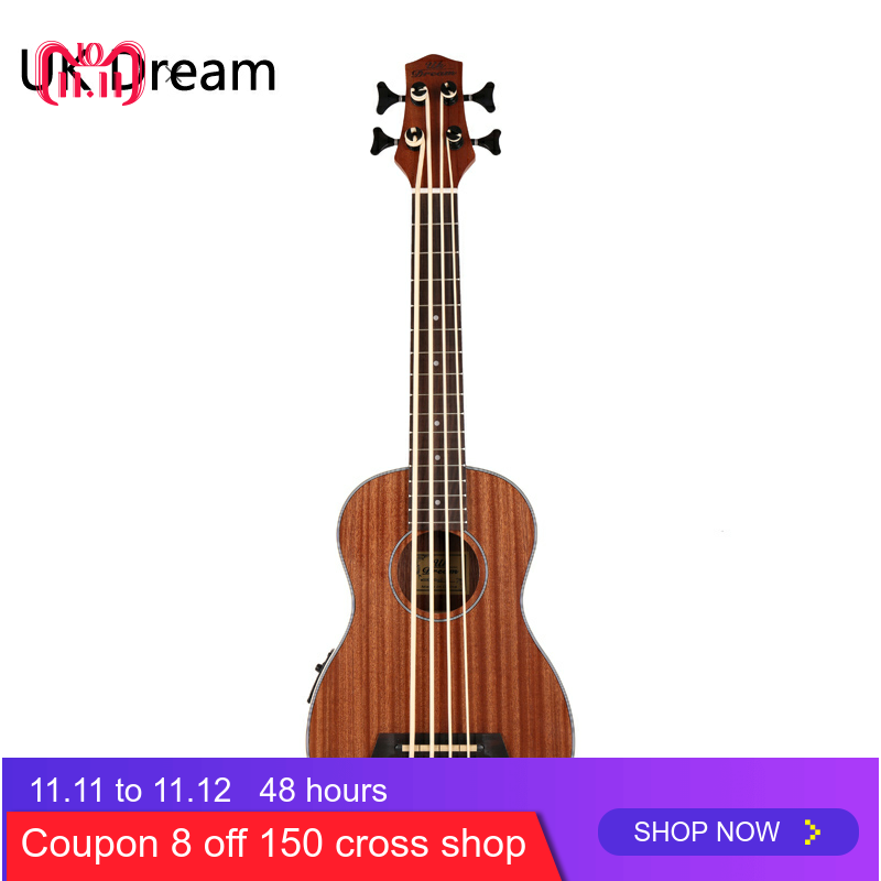 30 Inch Wooden Electrical Bass Guitar 4 Strings Ukulele Musical Instruments Closed Knob Ukulele Guitarra UB-113
