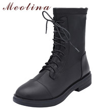 Meotina Motorcycle Boots Women Shoes Real Leather Low Heel Ankle Boots Square Toe Block Heels Zip Lace Up Short Boots Lady 41 цена 2017