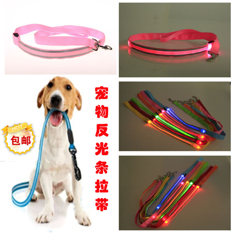 2.5 Cm Width LED Shining Hand Holding Rope Dog Traction Rope Reflective Strips Safe Dog Traction Rope Cross Night Safe