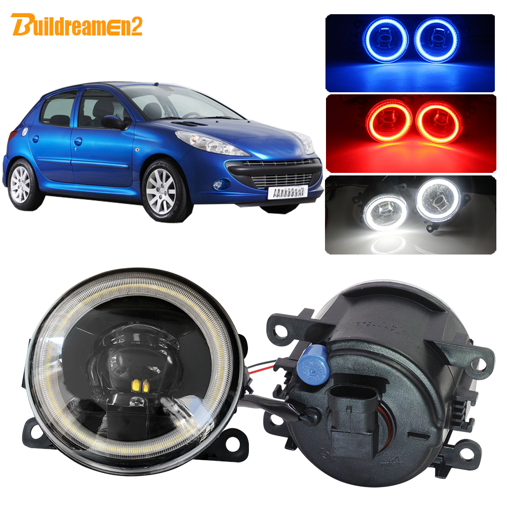 Buildreamen2 Car LED Fog Light 4000LM Lens Angel Eye DRL Daytime Running Light H11 12V For Peugeot 206+ T3E 2009 2010 2011 2012