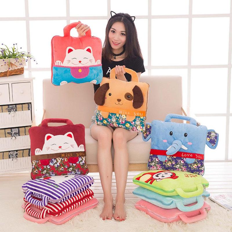 Dual-use Air Conditioner Quilt  Baby Cartoon Animal Blanket Pillow Sofa Stroller Covers Kids Newborn Bedding Swaddle Decke
