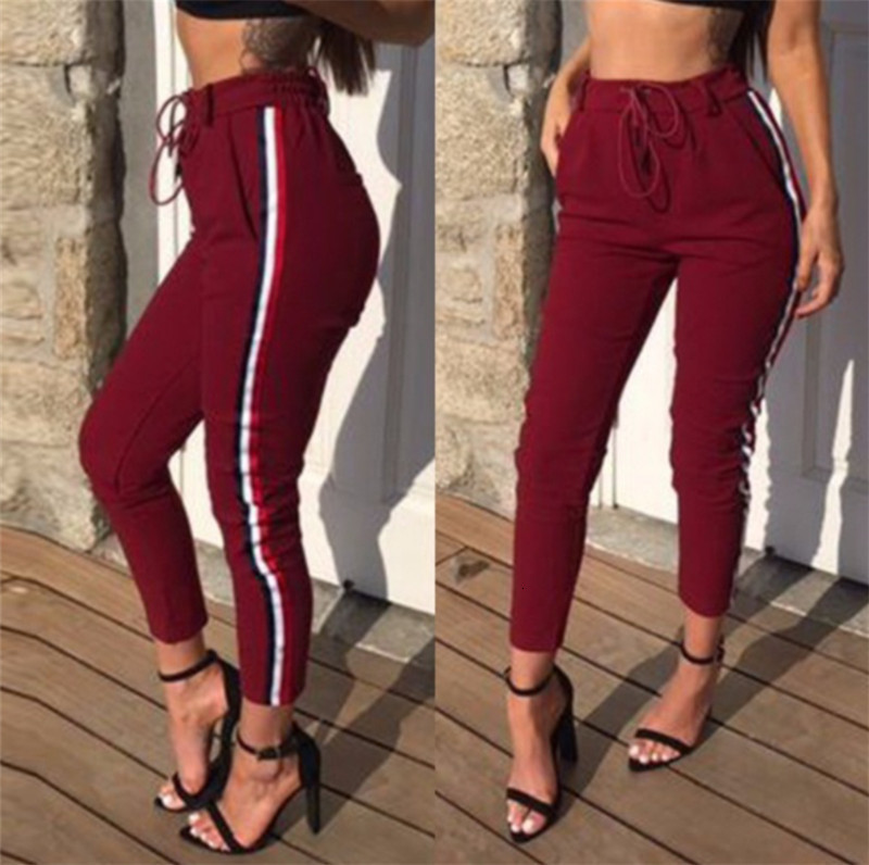 RICORIT Women Casual Stripe Pants Suit-dress Lift The Hips Leisure Time Aerobics Nine Part Pants Slim Women Pants