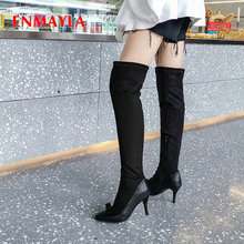 купить ENMAYLA 2019 Shoes Woman Basic Pointed Toe Slip-On Stretch Fabric Faux Suede Slim Boots Thigh High Boots PU Winter Boots Women дешево