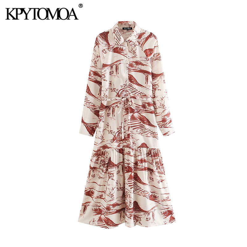 KPYTOMOA Women 2020 Elegant Fashion Print With Belt Midi Shirt Dress Vintage Lapel Collar Long Sleeve Female Dresses Vestidos
