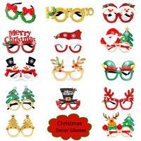 Gafas de Navidad de Papá Noel, muñeco de nieve, árbol con copos de nieve, papel de alce, atrezo para fotografía de fiesta, decoración de Navidad para el hogar, I1105, 2021