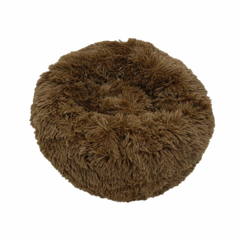 Dark coffee-Round Cat Beds House Soft Long Plush Best Pet Dog Bed For Dogs Basket Pet
