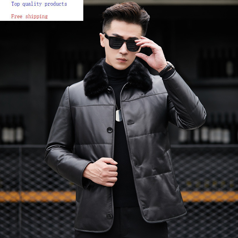 Genuine Leather Jacket Winter Real Leather Coat Mink Fur Collar Sheepskin Jackets Chaqueta Cuero Hombre 81X8701 YY263