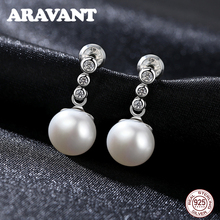 Freshwater Pearl Stud Earrings For Women 925 Sterling Silver Pave AAA+ Cubic Zirconia Earring Jewelry