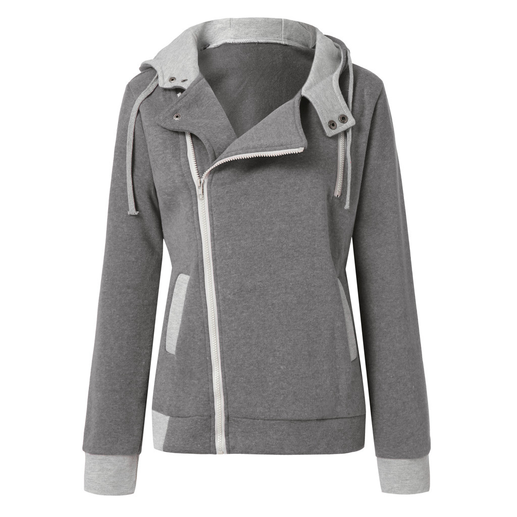 Womens Long Sleeve Oblique Zipper Casual Sweatshirt Jacket Coat